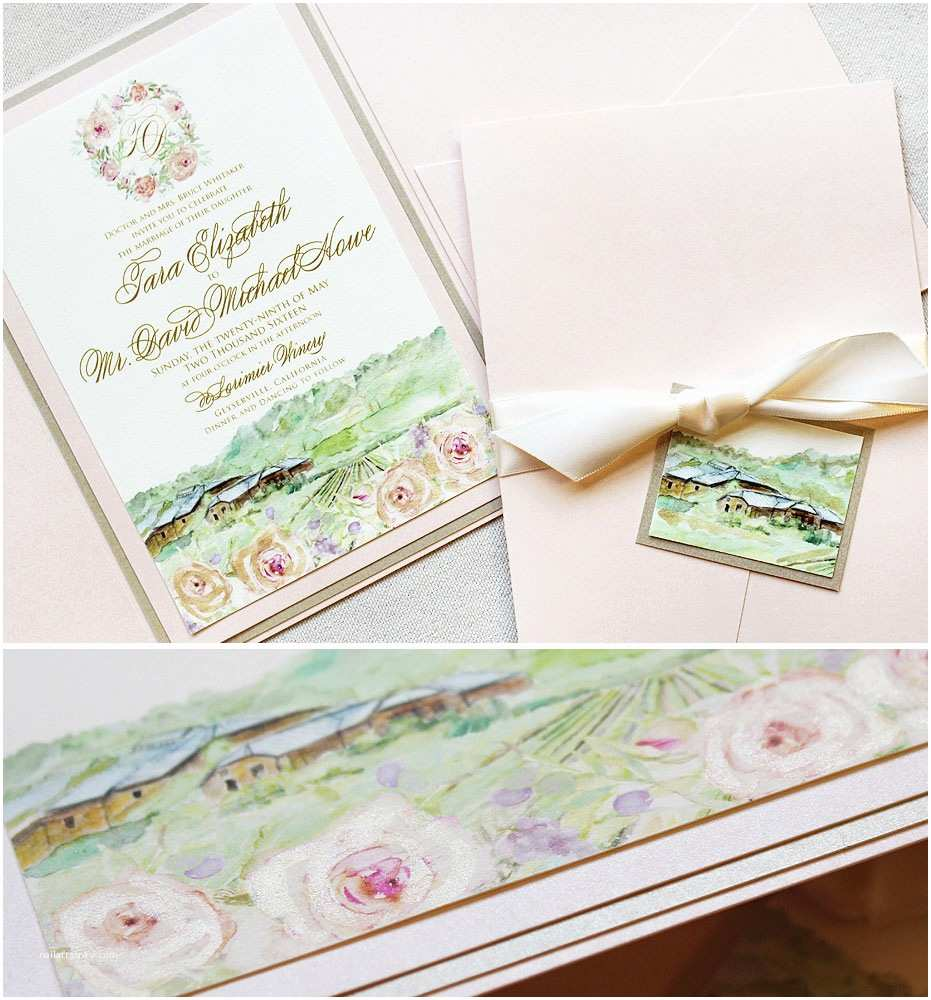 Vineyard Wedding Invitations Tara W Watercolor Vineyard Wedding Invitationmomental