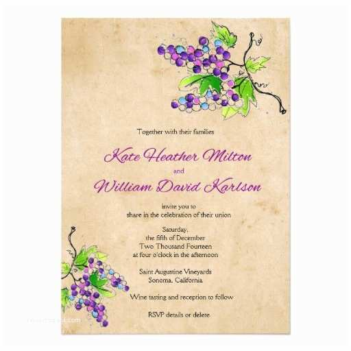 vineyard love artistic grapes wedding invitation