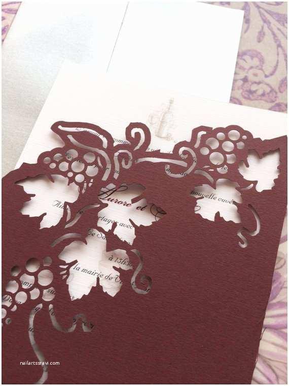Vineyard Wedding Invitations Wedding Invitation Lasercut Vineyard and Grapes Romantic