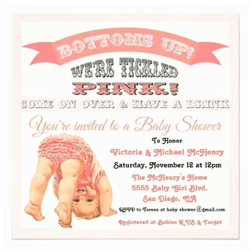 Vintage Baby Shower Invitations Bottom S Up Vintage Baby Girl Shower Invitations
