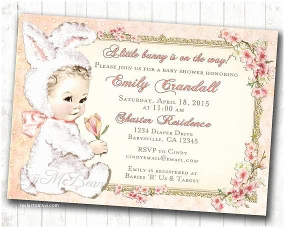 Vintage Baby Shower Invitations Easter Baby Shower Invitation for Girl Easter Vintage Baby