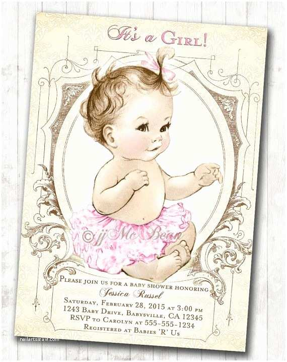 Vintage Baby Shower Invitations Girl Baby Shower Invitation Shabby Chic Vintage Baby