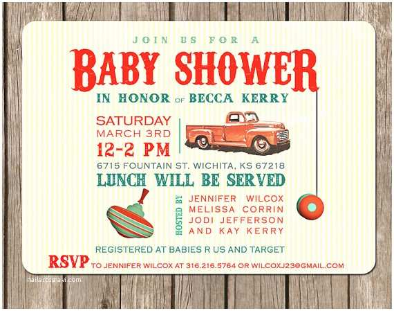 Vintage Baby Shower Invitations Items Similar to Vintage toy Truck Baby Shower Invitation