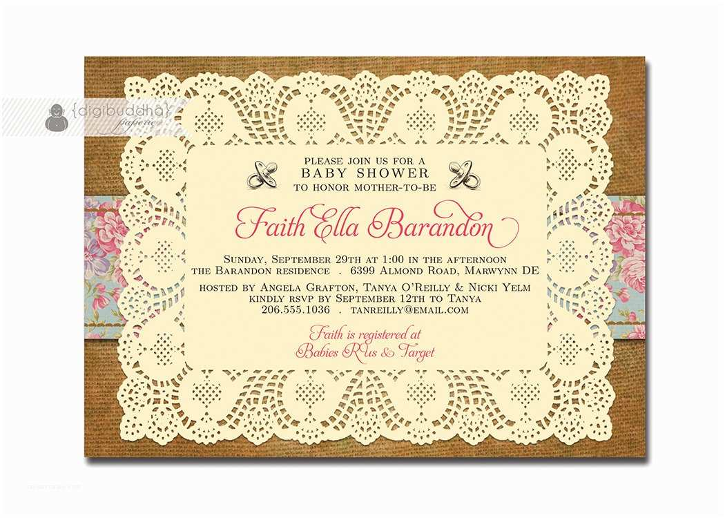 Vintage Baby Shower Invitations Lace Burlap Baby Shower Invitation Vintage Rose Floral Baby