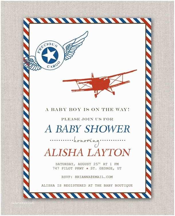 Vintage Baby Shower Invitations Precious Cargo Vintage Airplane Baby Shower Invitation