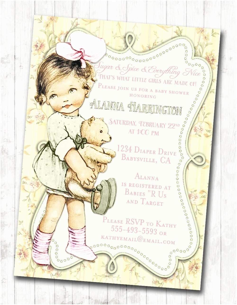 Vintage Baby Shower Invitations Shabby Chic Floral Vintage Baby Shower Invitation for Girl