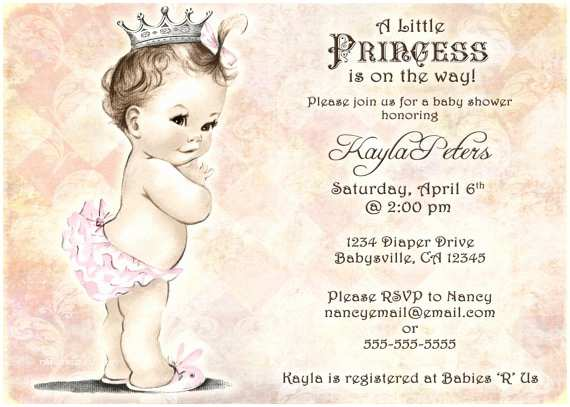 Vintage Baby Shower Invitations Vintage Baby Shower Invitation for Girl Princess Crown