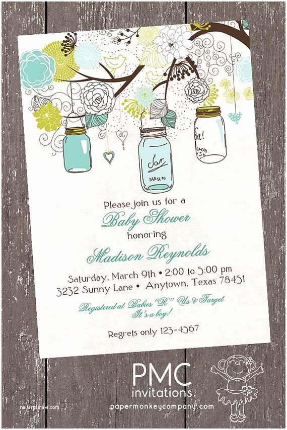 Vintage Baby Shower Invitations Vintage Baby Shower Invitation Vintage Mason Jars Baby Shower