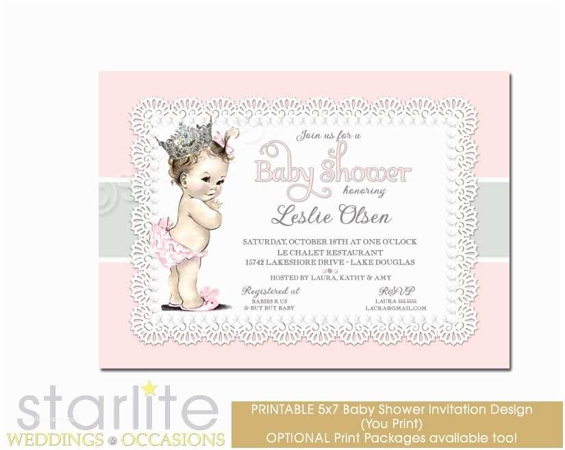 vintage baby shower invitations girl