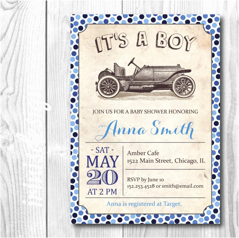 Vintage Baby Shower Invitations Vintage Car Baby Shower Invitation