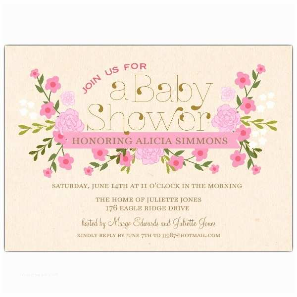 Vintage Baby Shower Invitations Vintage Pink Floral Baby Shower Invitations