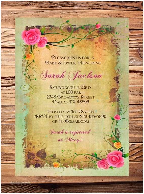 Vintage Baby Shower Invitations Vintage Roses Shower Invitation Digital Baby Girl Shower