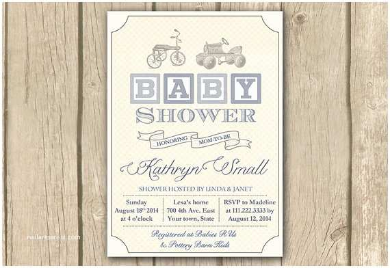 Vintage Baby Shower Invitations Vintage toys Baby Shower Invitation Printable Baby Boy