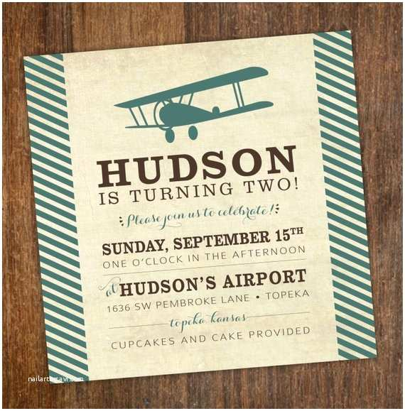 Vintage Birthday Invitations Vintage Airplane Boys Birthday Party Invitation Turquoise