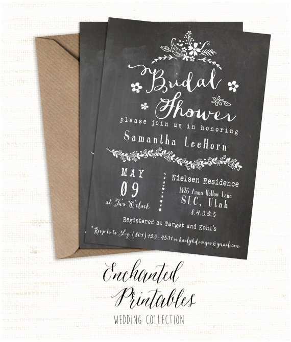 Vintage Bridal Shower Invitations Chalkboard Bridal Shower Invitation Printable Bridal