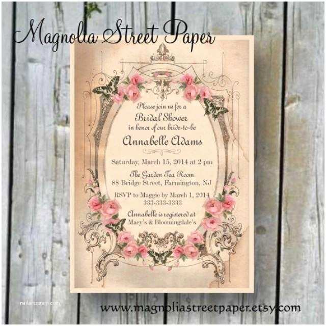 Vintage Bridal Shower Invitations Printable Bridal Shower Invitation Custom Printable