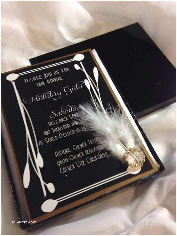 Vintage Hollywood Wedding Invitations Art Deco Boxed Invitation Gold & Black Invitation