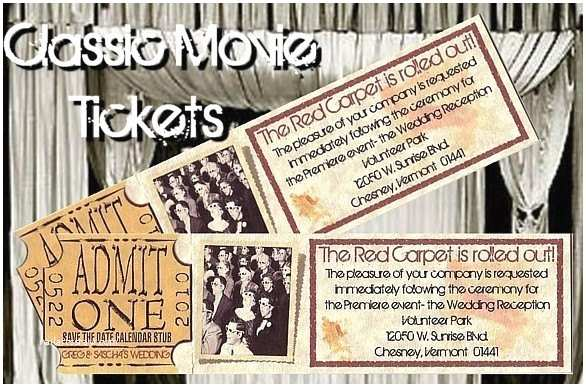 Vintage Hollywood Wedding Invitations Qty 50 Old Hollywood Movie theatre Ticket Party Wedding