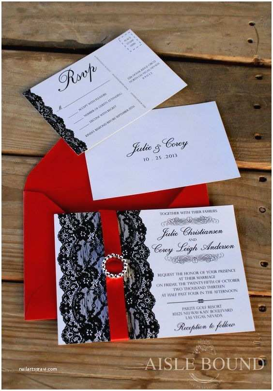 Vintage Hollywood Wedding Invitations Vintage Hollywood • Wedding Invitation • Metallic Red