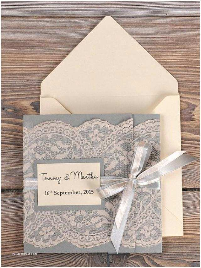 Vintage Lace Wedding Invitations Grey and Peach Lace Wedding Invitation Pocket Fold