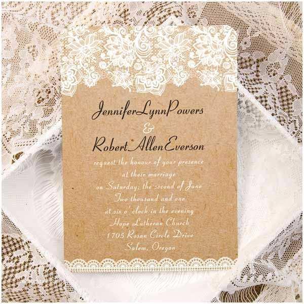 Vintage Lace Wedding Invitations Vintage Floral Lace Burlap Ticket Shape Wedding