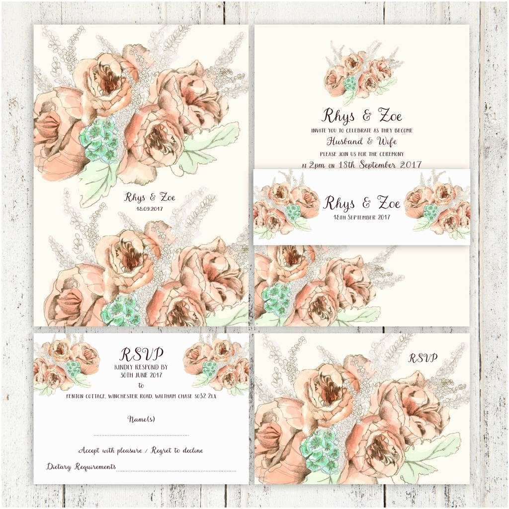 Vintage Rose Wedding Invitations Classic Vintage Rose Wedding Invitation Suite by Zoe Bark