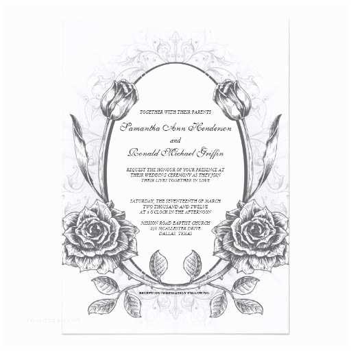 Vintage Rose Wedding Invitations Framed Elegant Vintage Rose Wedding Invitation 13 Cm X 18