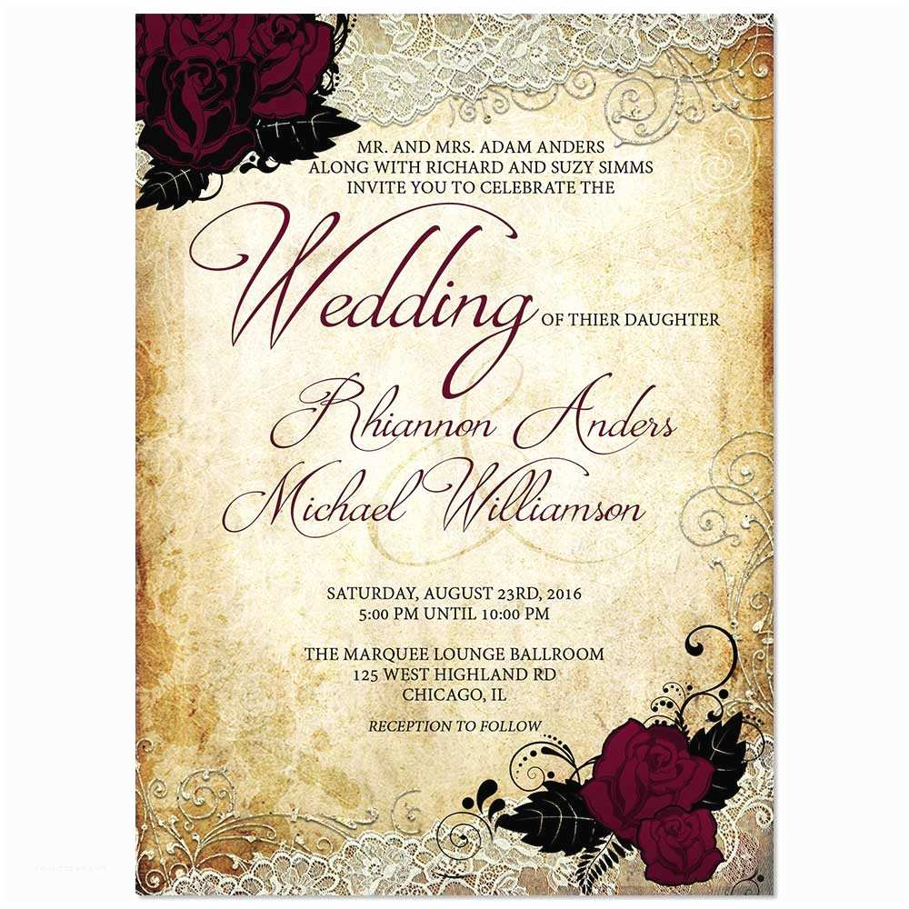 Vintage Rose Wedding Invitations Gift Ideas for Christmas Vintage Rose and Lace Wedding
