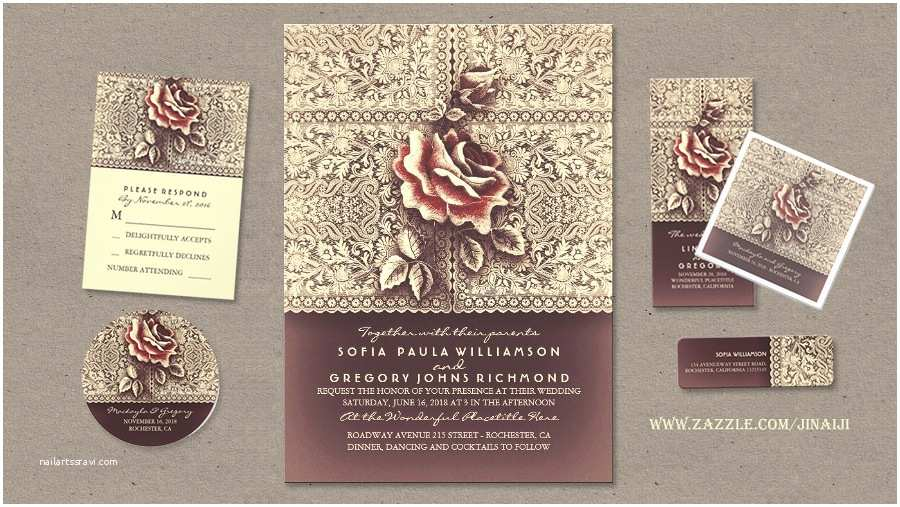 Vintage Rose Wedding Invitations Read More – Lace and Rose Vintage Wedding Invitations