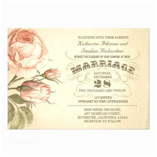"Vintage Rose Wedding Invitations Vintage Pink Rose Botanical Wedding Invitation 5"" X 7"