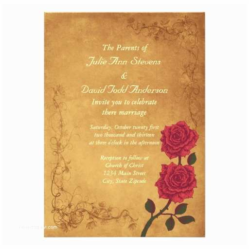 Vintage Rose Wedding Invitations Vintage Red Rose Wedding 13 Cm X 18 Cm Invitation Card