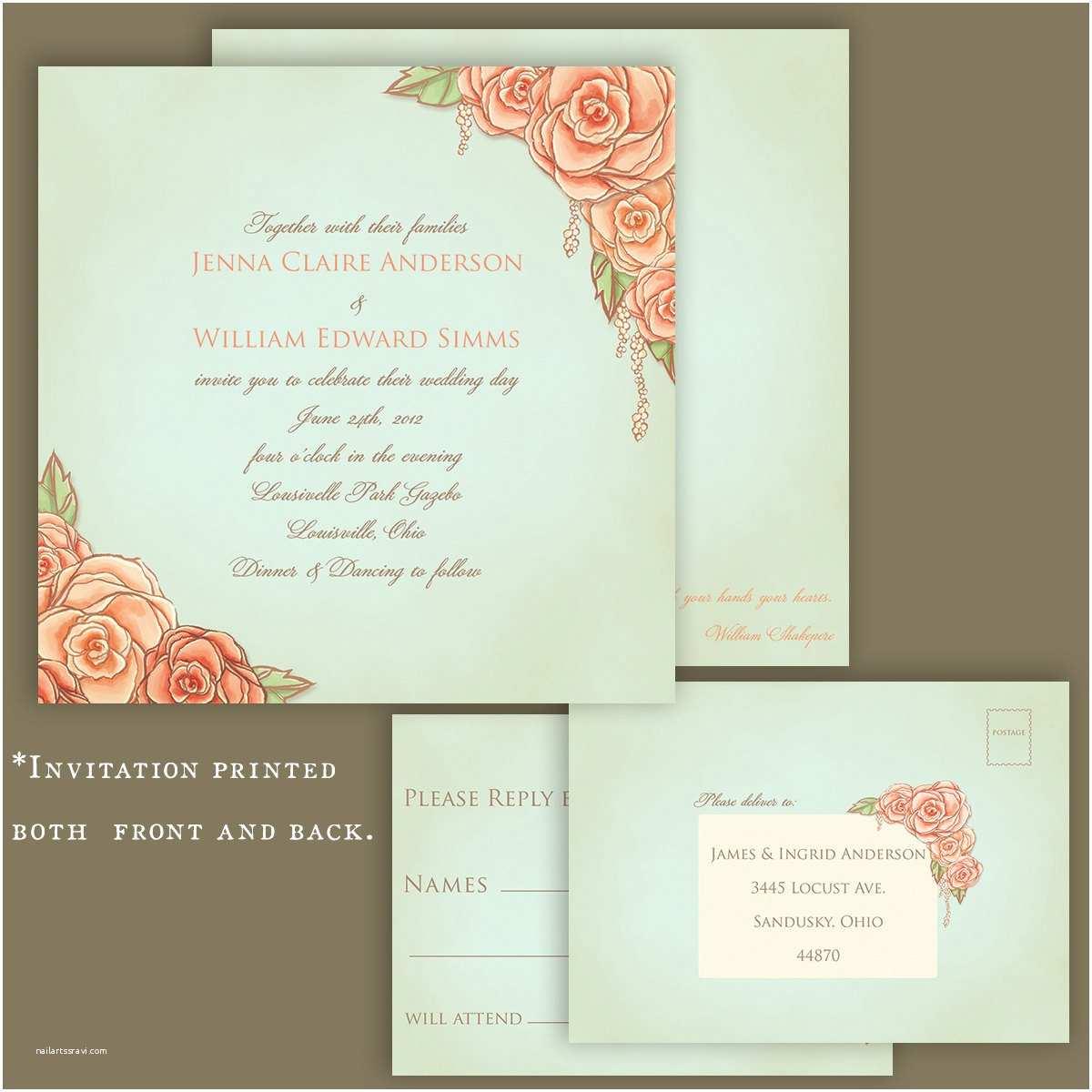 Vintage Rose Wedding Invitations Vintage Rose Garden Wedding Invitation Hand by Felicedesign