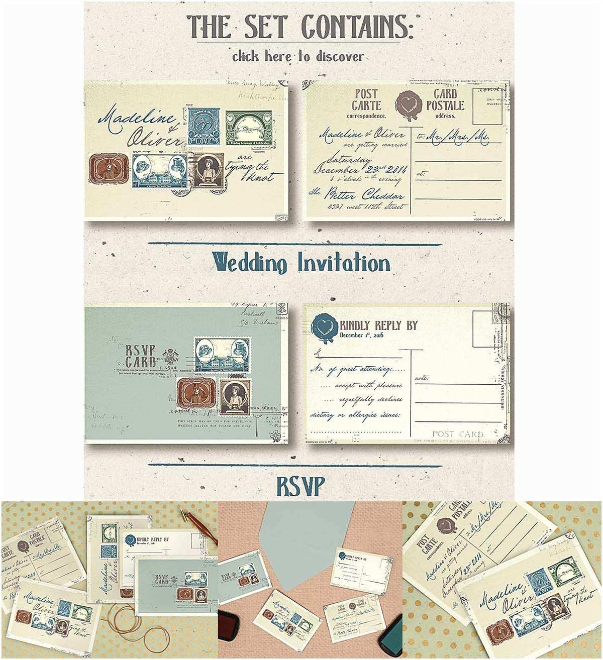 Vintage Stamps for Wedding Invitations Vintage Stamps Wedding Iinvitation Set
