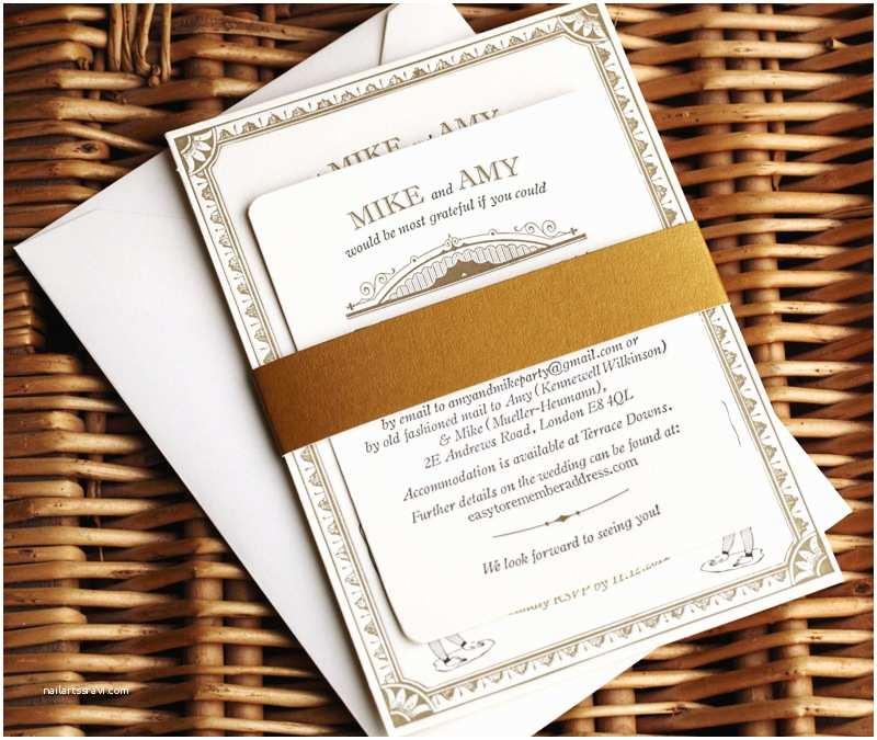 Vintage Style Wedding Invitations Amy Mike S Vintage Inspired Gold Letterpress Wedding