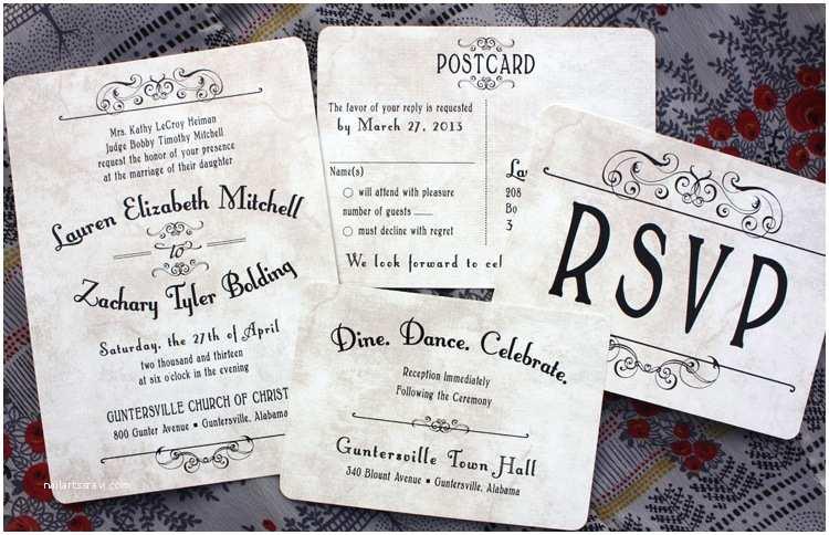 Vintage Style Wedding Invitations Antique Background Vintage Steampunk Poster Style Wedding