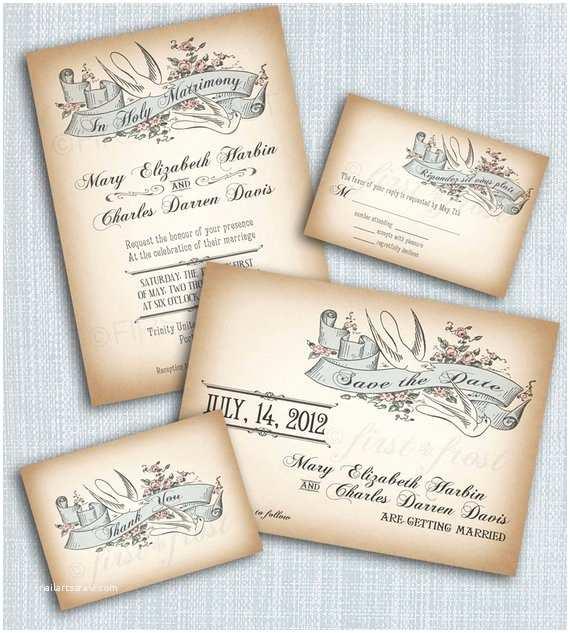 Vintage Style Wedding Invitations Printable Vintage Style Wedding Invitation Suite Diy 4