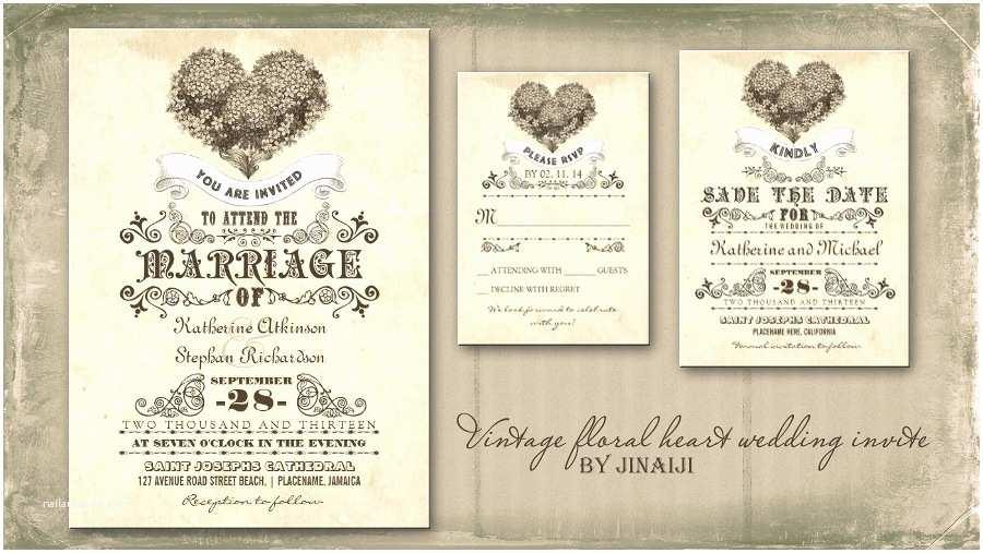 Vintage Style Wedding Invitations Read More – Vintage Floral Love Heart Wedding Invitation
