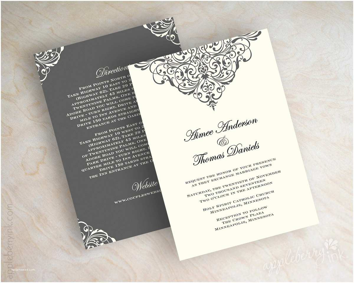 Vintage Style Wedding Invitations Vintage Filigree Wedding Invitation formal Victorian Wedding