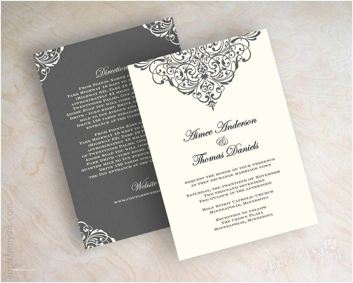 Vintage Style Wedding Invitations Vintage Filigree Wedding Invitation formal Victorian Wedding