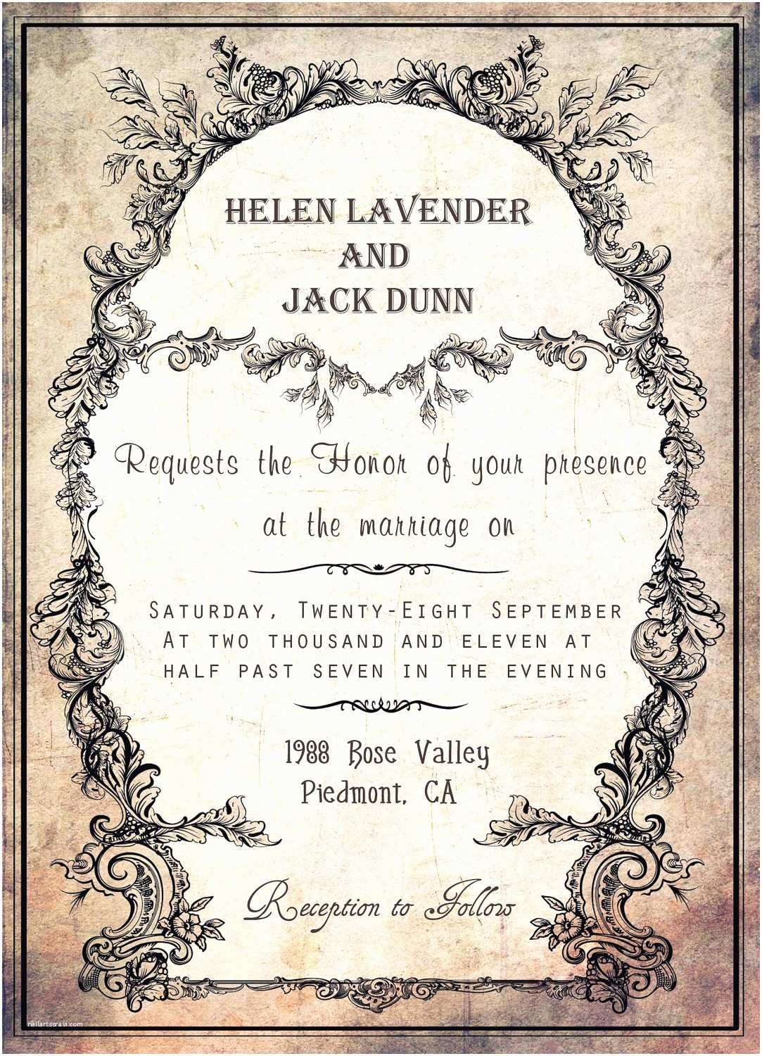 Vintage Style Wedding Invitations Vintage Style Wedding Invitation Card with Black Floral