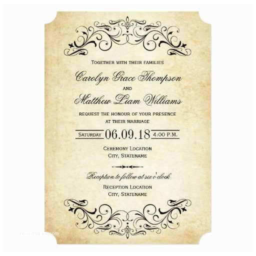 Vintage Style Wedding Invitations Vintage Wedding Invitations Elegant Flourish
