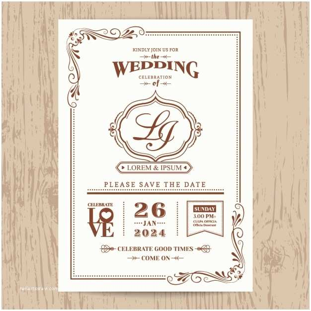 Vintage Style Wedding Invitations Wedding Invitation Vintage Style Vector