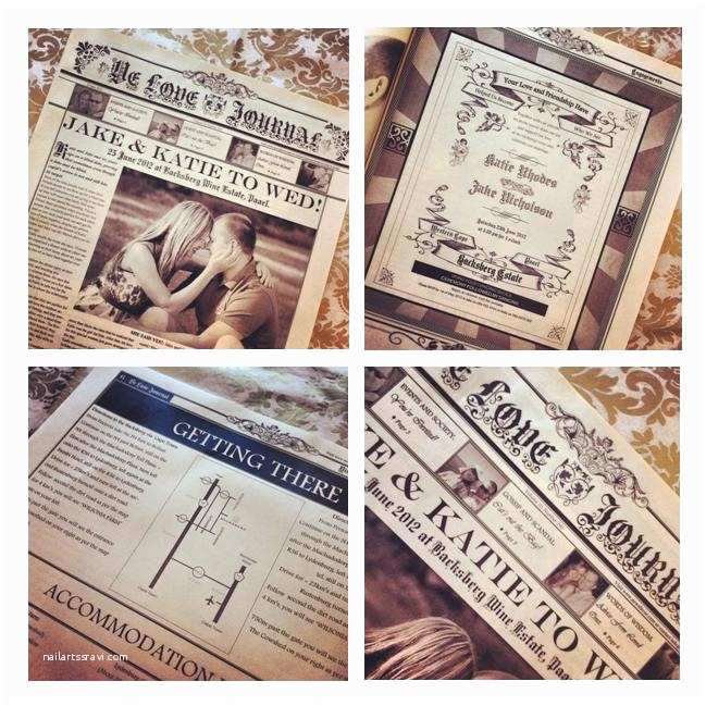 Vintage Style Wedding Invitations Wedding Newspaper On Pinterest