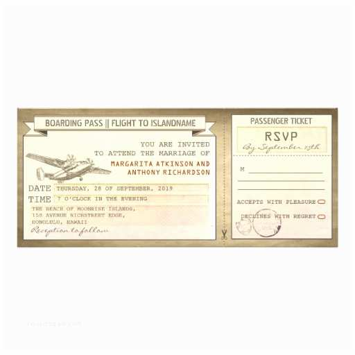 "Vintage Ticket Style Wedding Invitations Boarding Pass Tickets Vintage Wedding Invitations 4"" X 9"