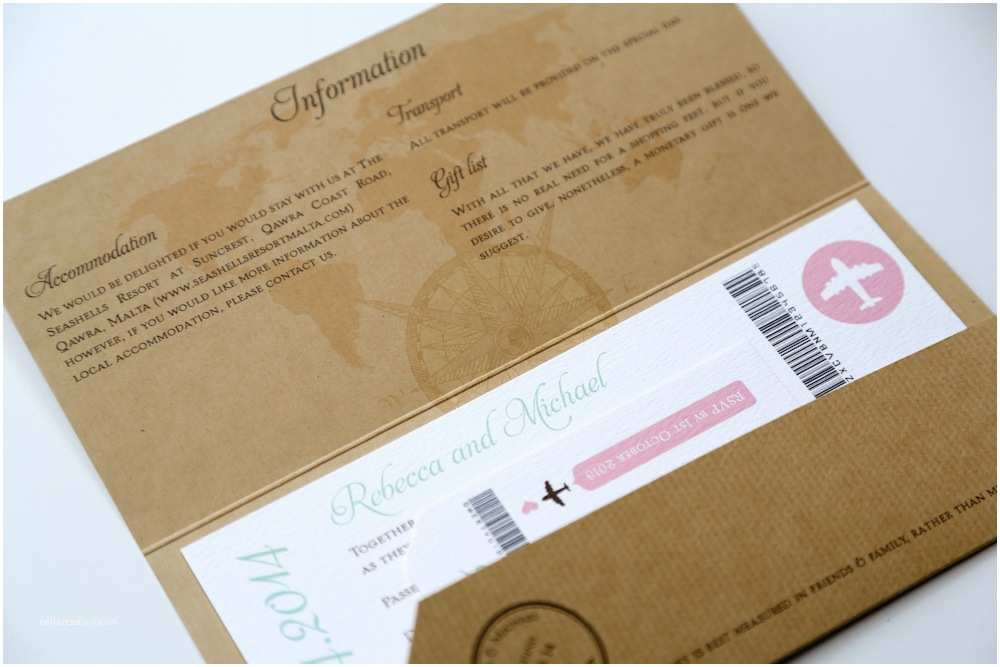 Vintage Ticket Style Wedding Invitations Kraft Vintage Style Airmail Travel Ticket Wedding