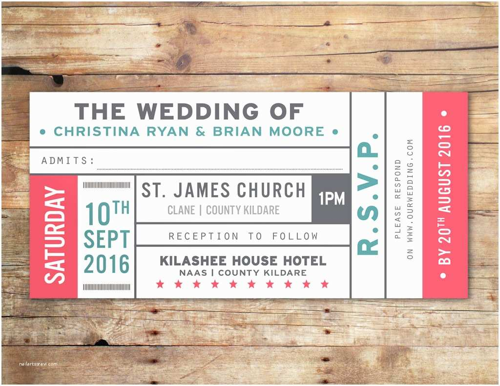 Vintage Ticket Style Wedding Invitations Little Ivory