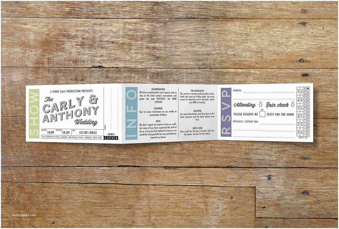 Vintage Ticket Style Wedding Invitations Movie Ticket Wedding Stationery Vintage Designs