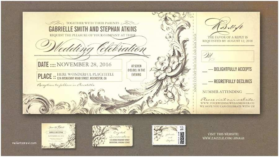 Vintage Ticket Style Wedding Invitations Read More – Elegant Vintage Wedding Tickets Invitations