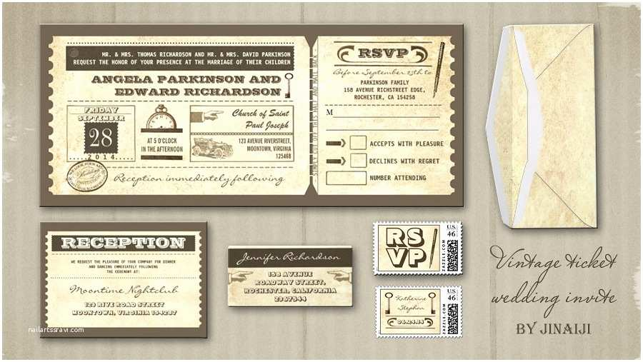 Vintage Ticket Style Wedding Invitations Read More – Vintage Wedding Tickets Invitations