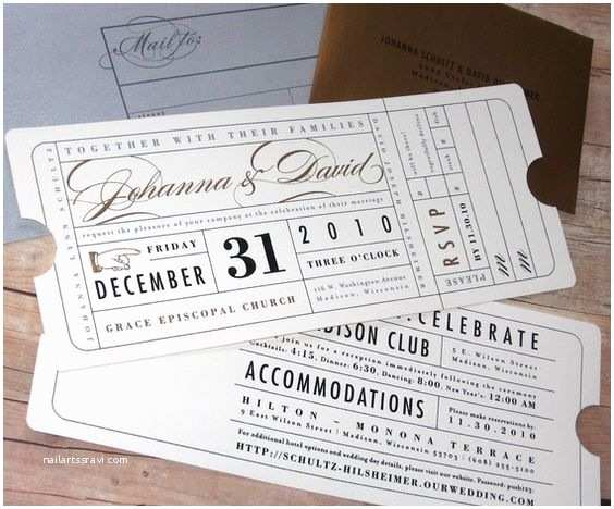Vintage Ticket Style Wedding Invitations Ticket Wedding Invitation Hollywood theater Movie